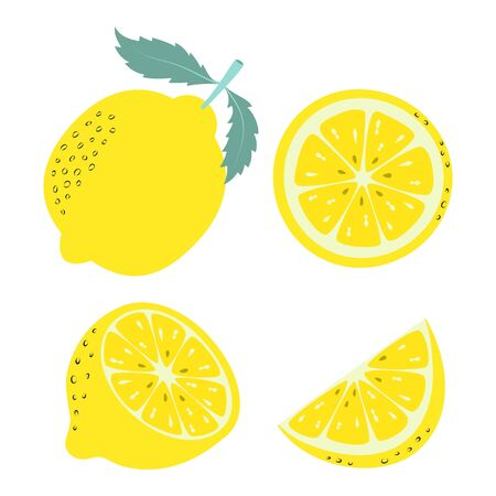 illustration with cartoon fruit, banner with whole and slices of lemon isolated on white background, fruit print