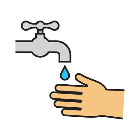 Wash your hands mandatory sign. Hands under the water tap. Personal hygiene. Disinfection, skin care. Antibacterial washing. Vector illustration