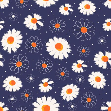 floral print, daisy flowers seamless pattern, vector illustration for any design