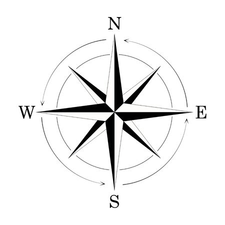 retro style, wind rose vintage compass icon isolated on white background