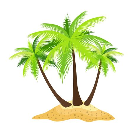 illustration of island palm trees isolated on white background, tropical print, summer card