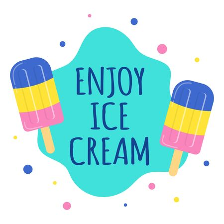 card of colored fruit ice cream with lettering isolated on white background, vector llustration of ice cream in cartoon style