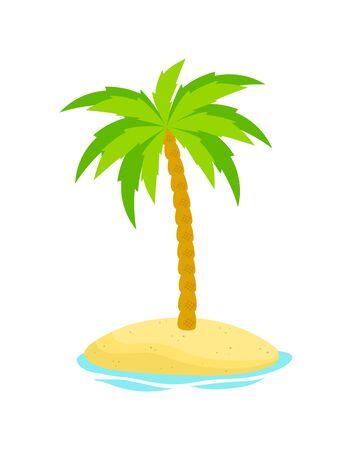 Palme auf der Insel, umgeben von Wasser isoliert auf weißem Hintergrund, tropischer Druck