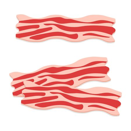 Raw bacon slices. Traditional breakfast ingredient, cured pork meat. Vector illustration.