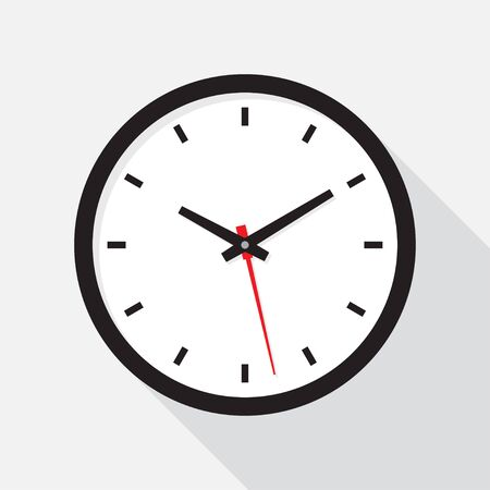 Clock icon in flat design. Office clock with shadow on a white background. Vector illustration Ilustración de vector