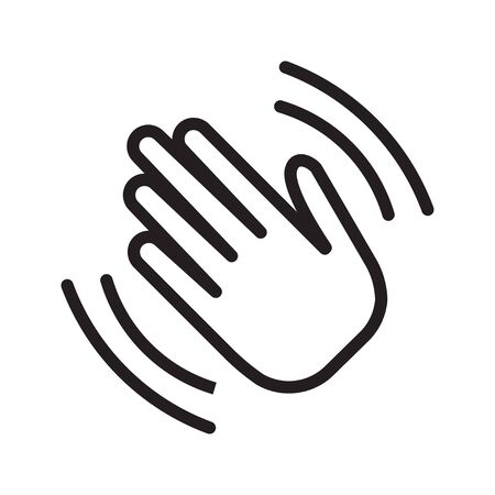 Hand wave waving hi or goodbye flat icon. Hello symbol. Vector illustration, isolated on white background. 矢量图像