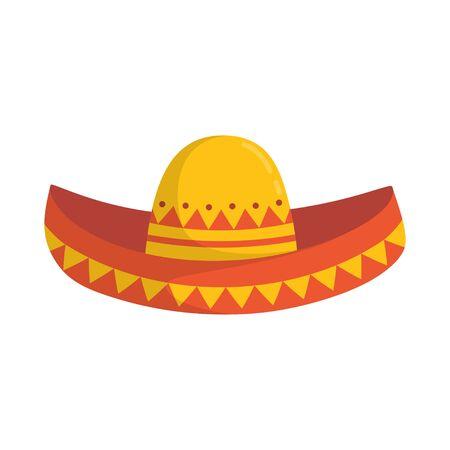 mexikanischer Sombrero-Hut isoliert auf weißem Hintergrund, Vektor-Illustration, traditionelles Accessoire Vektorgrafik