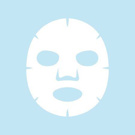 Facial sheet mask isolated on blue background 矢量图像