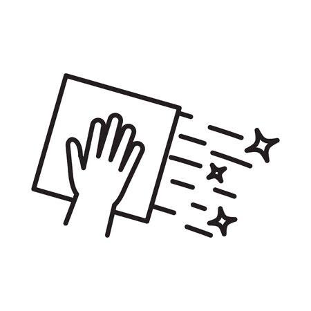Cleaning napkin icon. Surface wiping, disinfection Vector illustration Vecteurs