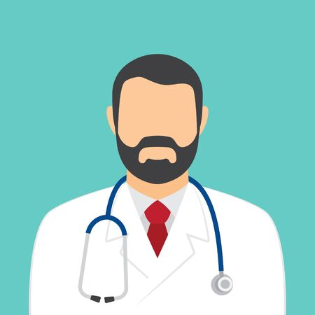 Male doctor with stethoscope avatar. Health care services concept. Vector illustration. Vectores