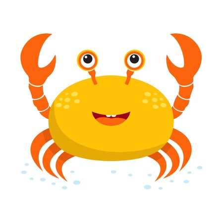 card with cute crab isolated on white background, cute baby animals