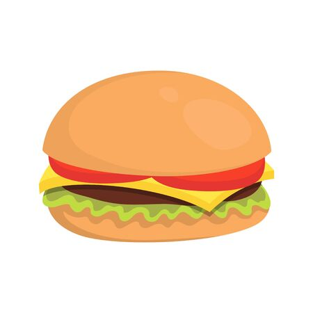 cheeseburger with meat, lettuce, and tomato, cartoon fast food, vector isolated illustration