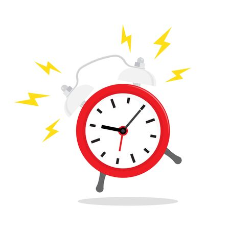 Red alarm clock, ringing. Vector icon isolated on background. Wake up time in at work.
