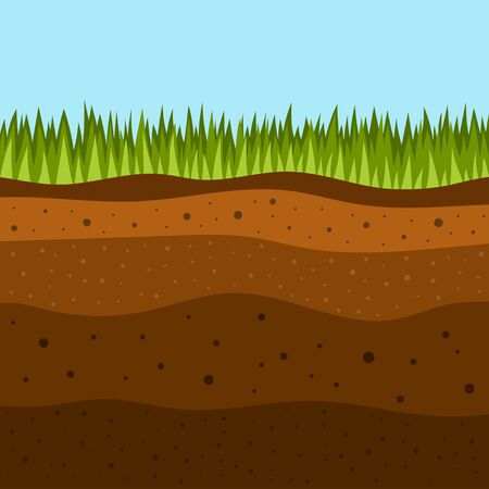 soil layers with green grass on top. The stratum of organic, minerals, sand, clay, silt, parent rock and unweathered parent material, layers of ground