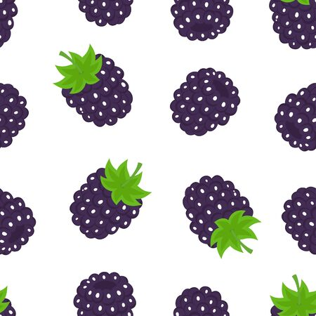 blackberry seamless pattern isolated on white background, greeting print and invitation of seasonal summer holidays, beach parties, tourism and travel