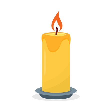 Burning candle, isolated on a white background. Vector illustration