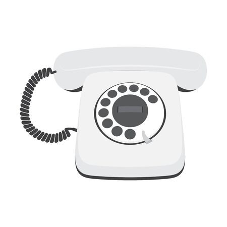 Retro telephone isolated on a white background. Vintage phone, Vector illustration