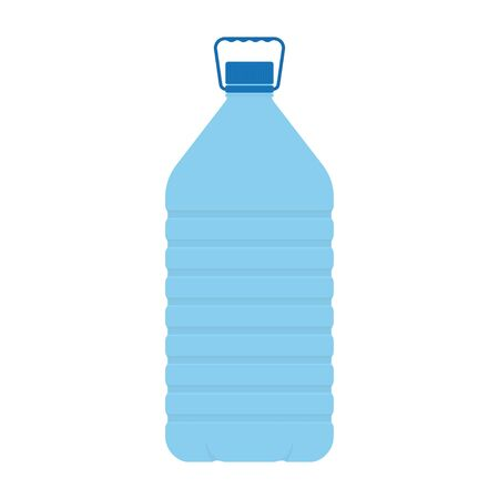 Big plastic bottle of potable water, isolated on white backgroud. Barrel with handle, vector illustration