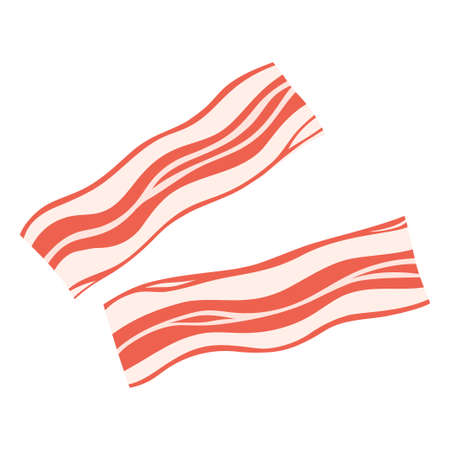 two slices of bacon isolated on white background, tasty breakfast meal ingredient, vector illustration 일러스트