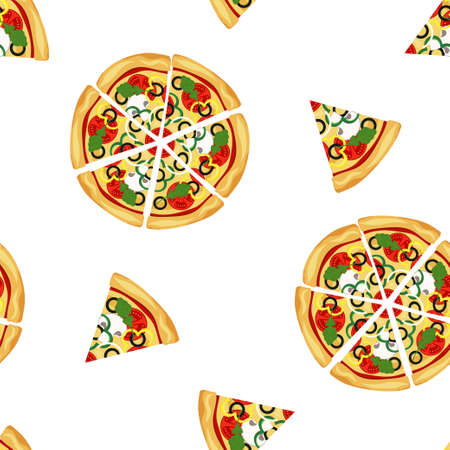 seamless pattern with whole and slices of pizza, fast food, vector illustration isolated on white background