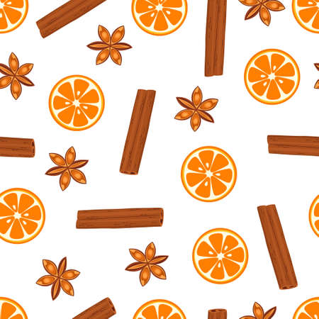 bright fruit pattern with orange, cinnamon and anise isolated on white background, modern illustration with fresh fruits and spices