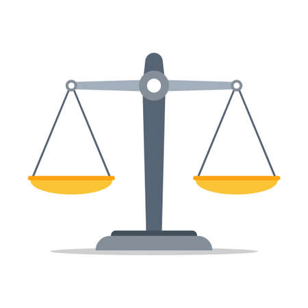Scales of justice icon. Empty scales. Vector illustration, isolated on white background.
