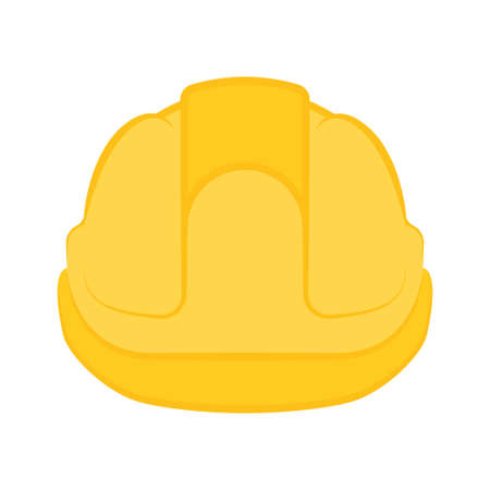 Yellow construction helmet. Safety helmet icon. Vector Illustration, isolated on white background