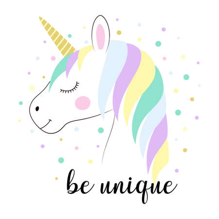 card of beautiful unicorn head and inscription be unique isolated on white background, vector illustration