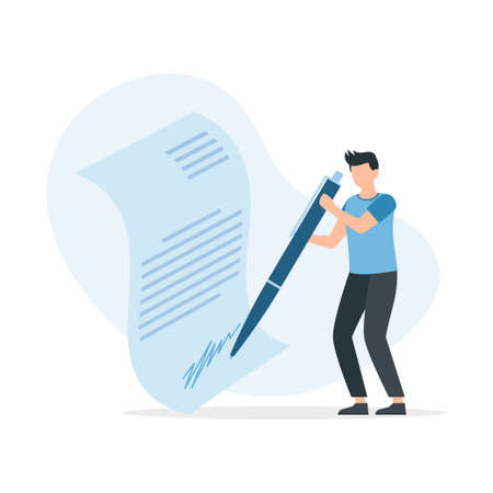 Man leaving signature on legal document with pen. User agreement signing. Concept of signing bilateral contract. Vector illustration.