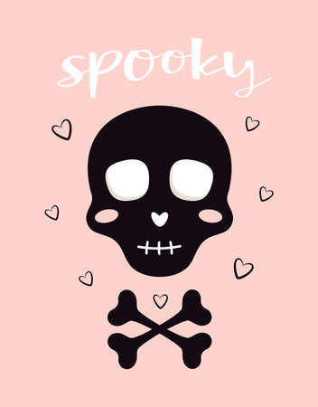 cute halloween vector card with black skull isolated on pink background, funny smiling skull, hearts and lettering spooky, can used for any design