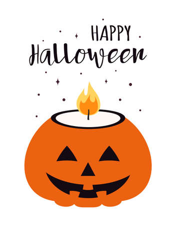 vector illustration of pumpkin candle and lettering happy halloween isolated on white background, flat style, could be used for any design