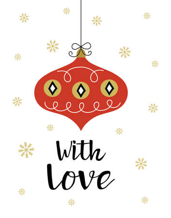christmas greeting card in scandinavian style with tree decoration isolated on white background, vector illustration Vecteurs