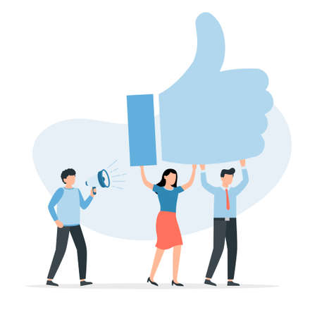Customers showing like. People give review rating and feedback. Good client positive opinion concept. Vector illustration