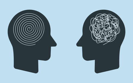 The opposite mindset chaos and order in thoughts. Two heads of a person with the opposite mindset. Vector illustration. Stock Illustratie