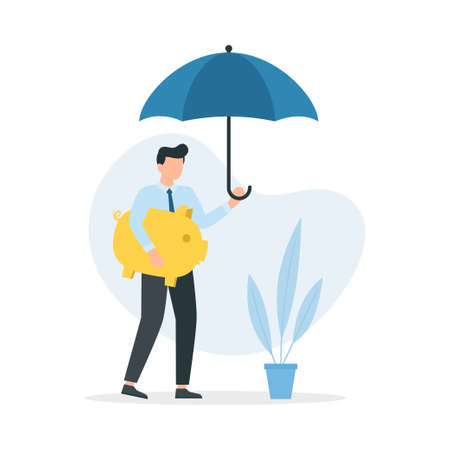Man with umbrella protecting his piggy bank. Concept of protection and saving money. Save the piggy bank. Vector illustration.
