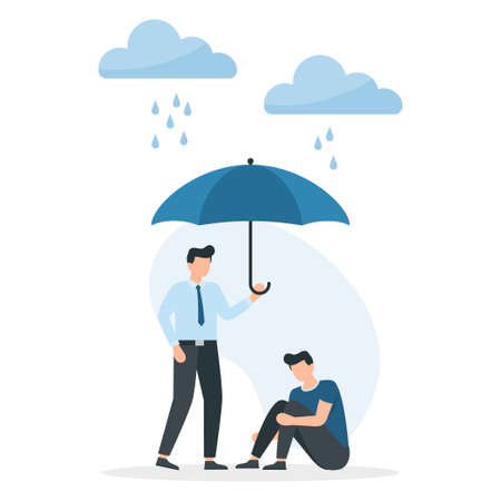 Concept of support and care for people under stress, a young man holds out an umbrella from the rain to another in a state of depression. Support and help. Vector illustration