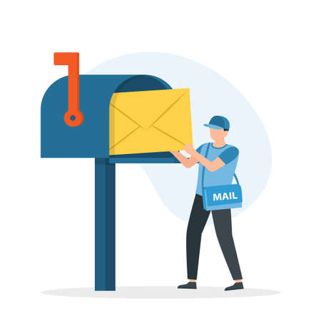 Man postman with bag on shoulder put letter in mail box. Concept of express mail delivery service. Vector Illustration