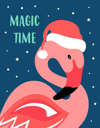 greeting christmas card with cute flamingo in santa hat and lettering magic time, vector illustration 矢量图像