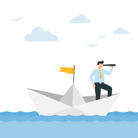 Man in a business suit with a telescope sails on a paper boat. Business concept of success, mission, risk. Vector illustration