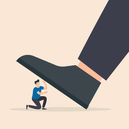 Huge leg of a man steps on a small frightened weak businessman. Angry arrogant boss. Big foot is treading on man walk on the heads concept. Vector illustration