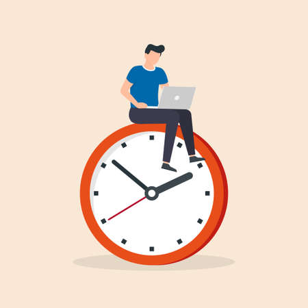 Man sitting on clock with a laptop. Deadline concept. Time management, productivity, efficiency, work rate, perfomance concept. Vector illustration.