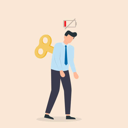 Tired businessman with Clockwork key and empty battery. Professional burnout or long working day concept. The lack motivation and energy to do work. Vector illustration