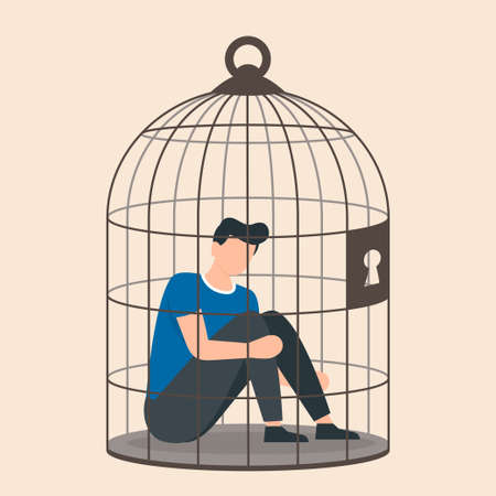 Depression and despair, young male character sitting inside a birdcage. Isolated character. Family problems, pressure at work. Man is locked in a birdcage. Vector illustration