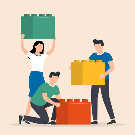 People working together to connecting the elements of the blocks. Teamwork, concept of good cooperation. Vector illustration Vector Illustratie