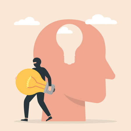 Thief stealing lightbulb from man head. Business idea thief. Concept of plagiarism, theft of ideas, duplicating or copying the thoughts of others.