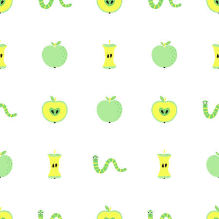 seamless pattern with green worms and apples, vector illustration with whole, cut and apple core, print with cartoon insect and sweet fruit Vektorové ilustrace