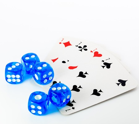 set of blue dices and cards on white background Stock Photo