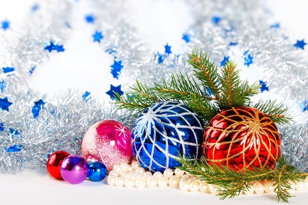 christmas decorations and fir branches on white background with defocused tinsel stock photo 89143267