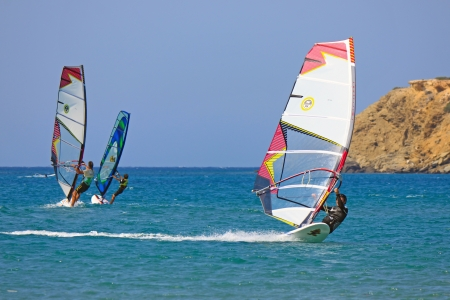 water skiing: Windsurf at Prassonissi beach Editorial