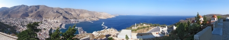 a panoramic view of the island of kalymnos in Greece